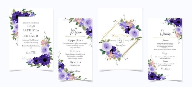 Precioso conjunto de invitación de boda floral púrpura
