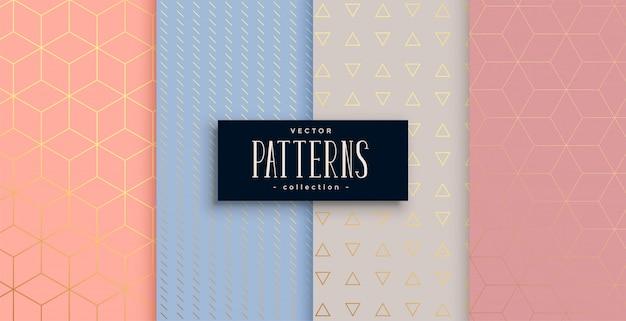 Precioso conjunto de patrones geométricos en colores pastel y oro