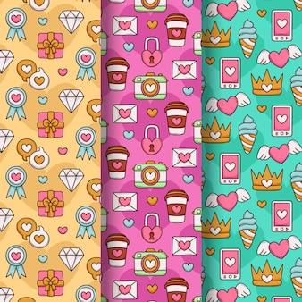 Precioso conjunto de patrones de san valentín dibujados