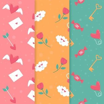Precioso conjunto de patrones de san valentín