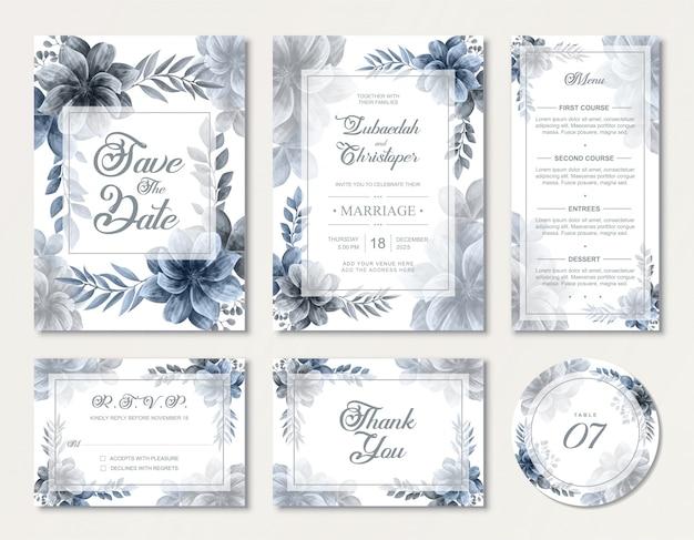 Precioso conjunto de tarjetas de invitación de boda con elegantes flores de rosas de acuarela azul
