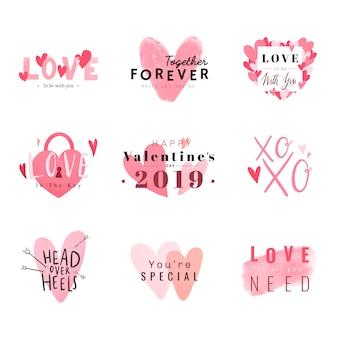 Precioso conjunto de tarjetas románticas