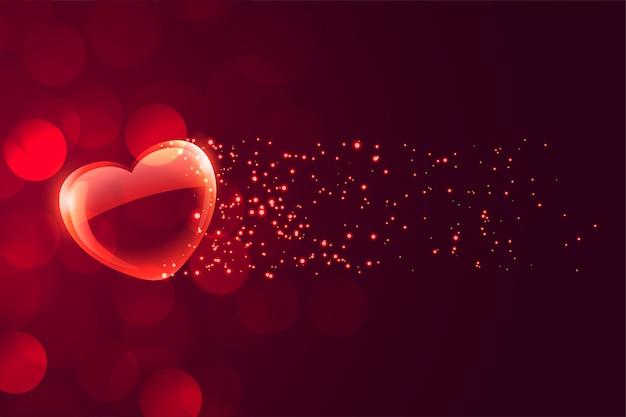 Precioso corazón romántico flotante sobre fondo bokeh