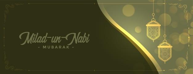 Precioso diseño de banner de lámparas brillantes milad un nabi