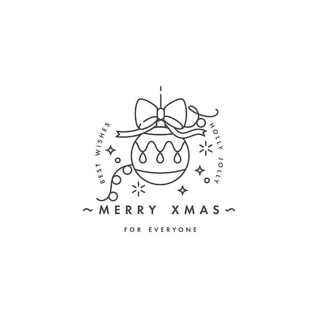 Precioso diseño lineal del concepto de feliz navidad con bola de navidad
