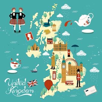 Precioso diseño de mapa de viajes de reino unido con atracciones