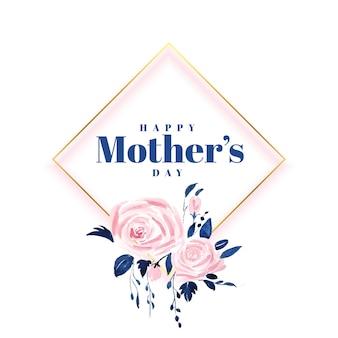 Precioso diseño de tarjeta de flores para el día de la madre feliz