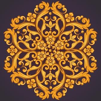 Precioso elemento ornamental redondo para diseño en color amarillo naranja.