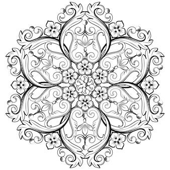 Precioso elemento ornamental redondo para diseño en colores blanco y negro.