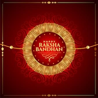 Precioso feliz raksha bandhan fondo dorado rakhi
