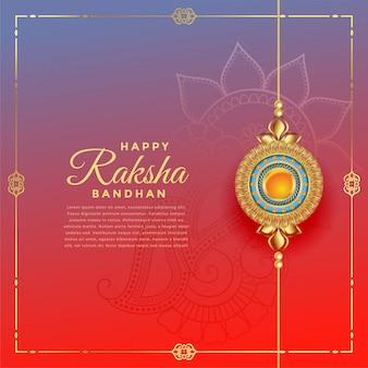Precioso festival de rakshabandhan con decoración de rakhi, plantilla de texto