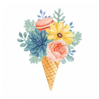 Precioso helado de flores de acuarela con macarrones naranjas, suculentas, rosas, margaritas amarillas y hojas de dusty miller