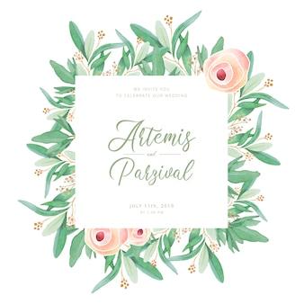 Precioso marco de boda con hojas de acuarela