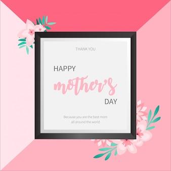 Precioso marco del día de la madre con flores de cerezo