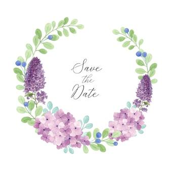 Precioso marco floral de lylac y hortensia