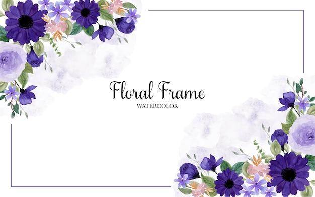 Precioso marco floral púrpura acuarela con fondo abstracto mancha