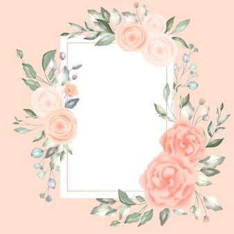 Precioso marco floral con tarjeta vintage