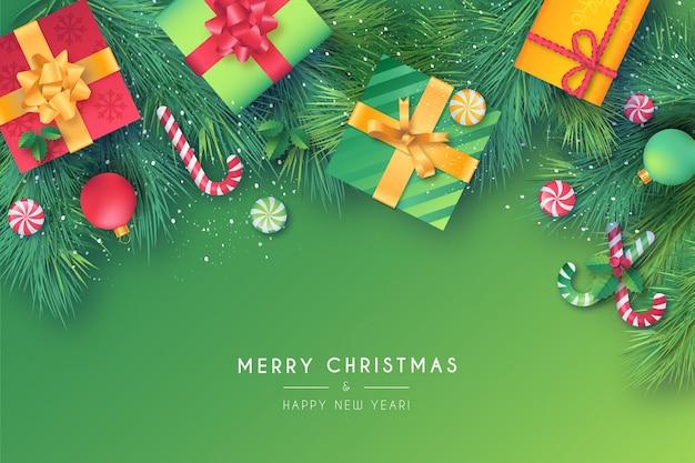 Precioso marco navideño con adornos verdes y rojos