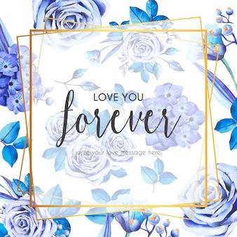 Precioso marco con rosas azules y hojas