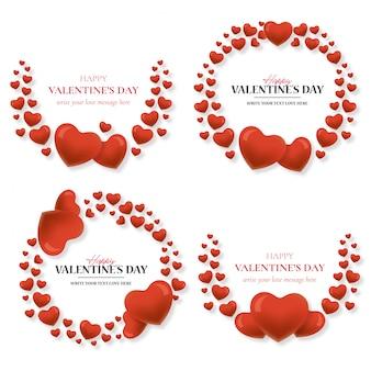 Precioso marco de san valentín con corazones.