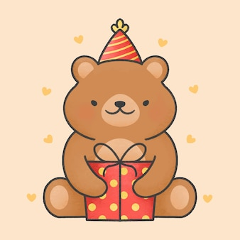 Precioso oso y caja de regalo de dibujos animados
