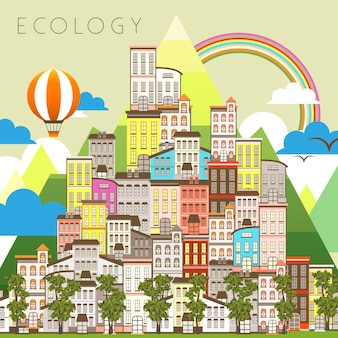 Precioso paisaje urbano ecológico en estilo plano.