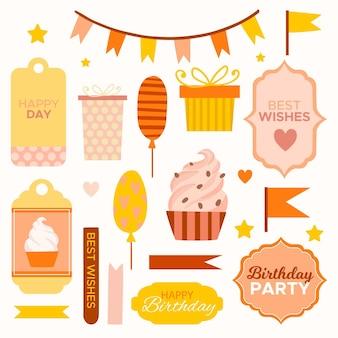 Precioso paquete de elementos de scrapbook de cumpleaños