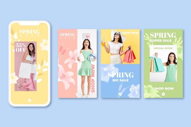 Precioso paquete de historias de instagram de rebajas de primavera