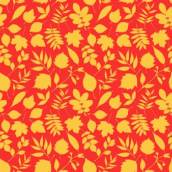 Precioso patrón de hojas rojas y amarillas