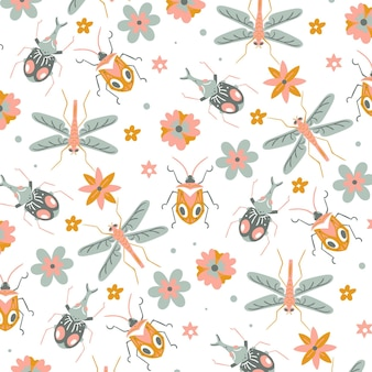 Precioso patrón con insectos repetitivos y flores.