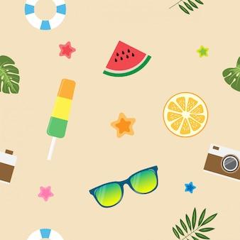 Precioso patrón de verano tropical inconsútil