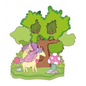 Precioso pequeño unicornio con princesa en el paisaje.