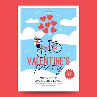 Precioso póster de fiesta de san valentín con globos de corazón y bicicleta
