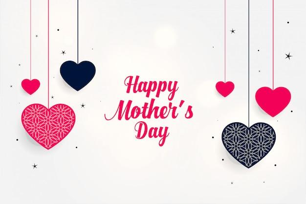Precioso saludo del día de la madre con corazones colgantes.
