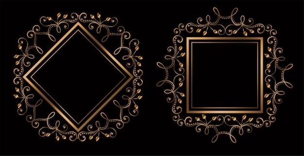 Preciosos marcos reales ornamentales de boda con espacio de texto