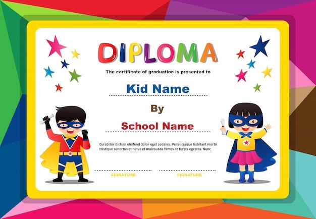 Preescolar superhéroe niños niños y niñas certificado de diploma colorido diseño plantilla