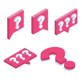 Pregunta conjunto de iconos isométricos. ilustración de redes sociales.