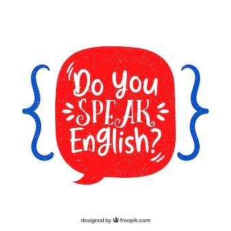 Pregunta de hablas inglés con estilo de dibujo a mano