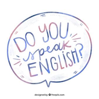 Pregunta de hablas inglés en acuarela