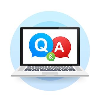 Pregunta y respuesta bubble chat sobre fondo blanco ilustración