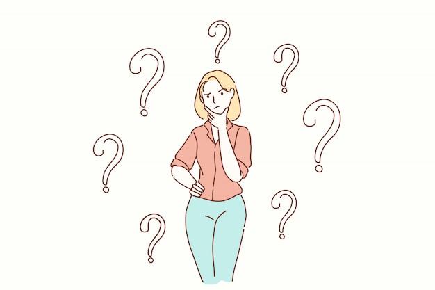 Pregunta, tarea, problema, concepto de pensamientos.