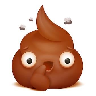 Preguntando emoji poo icono de personaje de dibujos animados.