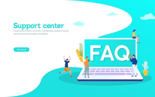 Preguntas frecuentes y el concepto de ilustración de preguntas y respuestas, personas que solicitan un centro de soporte en línea a través de un teléfono inteligente y una computadora portátil