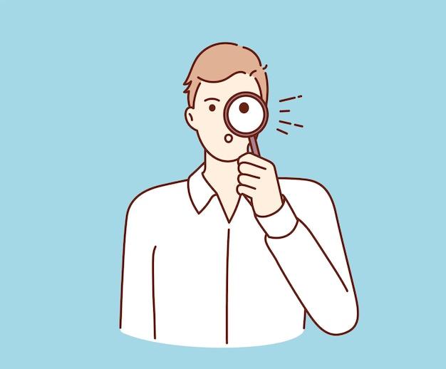 Preguntas frecuentes, consulta, investigación, búsqueda de información. personaje de dibujos animados de joven empresario sosteniendo lupa y mirando a través de la búsqueda de información.