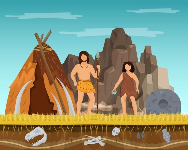 Prehistórico, pareja, mujer y hombre, permanecer, tienda antigua, pasado, edades, tiempo, carácter, macho, hembra, plano, vector, illustration