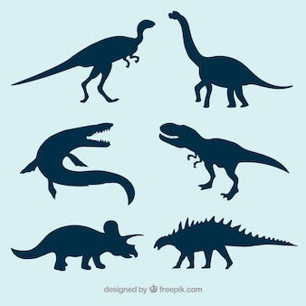 Prehistóricos siluetas de dinosaurios vectoriales