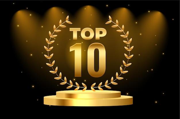 Premio al mejor podio de los 10 mejores