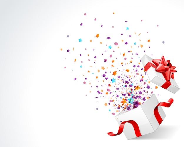 Premio de caja de regalo con estrellas coloridas y explosión de confeti en blanco con ilustración