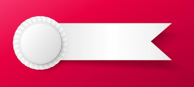 Premio cinta rosetas colgando blanco