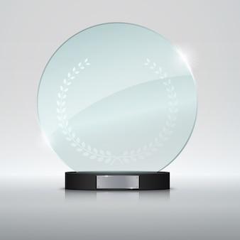 Premio circle glass trophy.